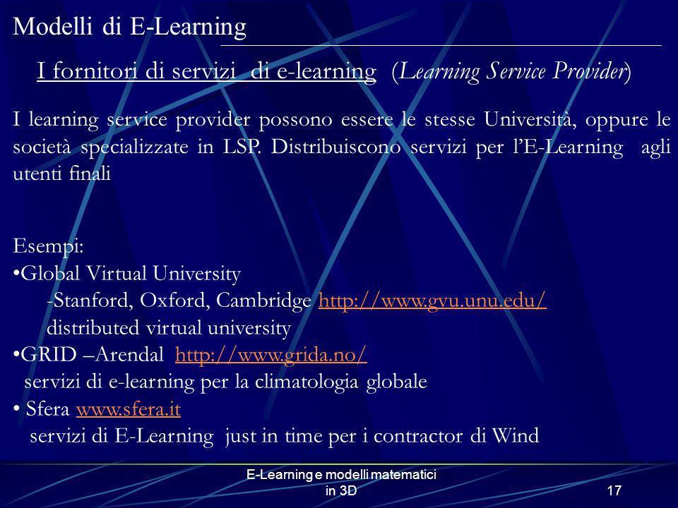 E-Learning e modelli matematici in 3D17 Modelli di E-Learning I fornitori di servizi di e-learning (Learning Service Provider) I learning service prov