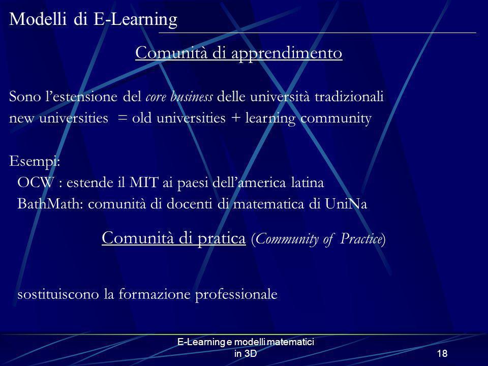 E-Learning e modelli matematici in 3D18 Sono lestensione del core business delle università tradizionali new universities = old universities + learnin