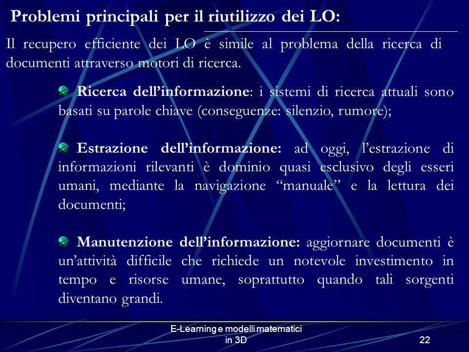 E-Learning e modelli matematici in 3D22 Problemi principali per il riutilizzo dei LO: Ricerca dellinformazione: i sistemi di ricerca attuali sono basa