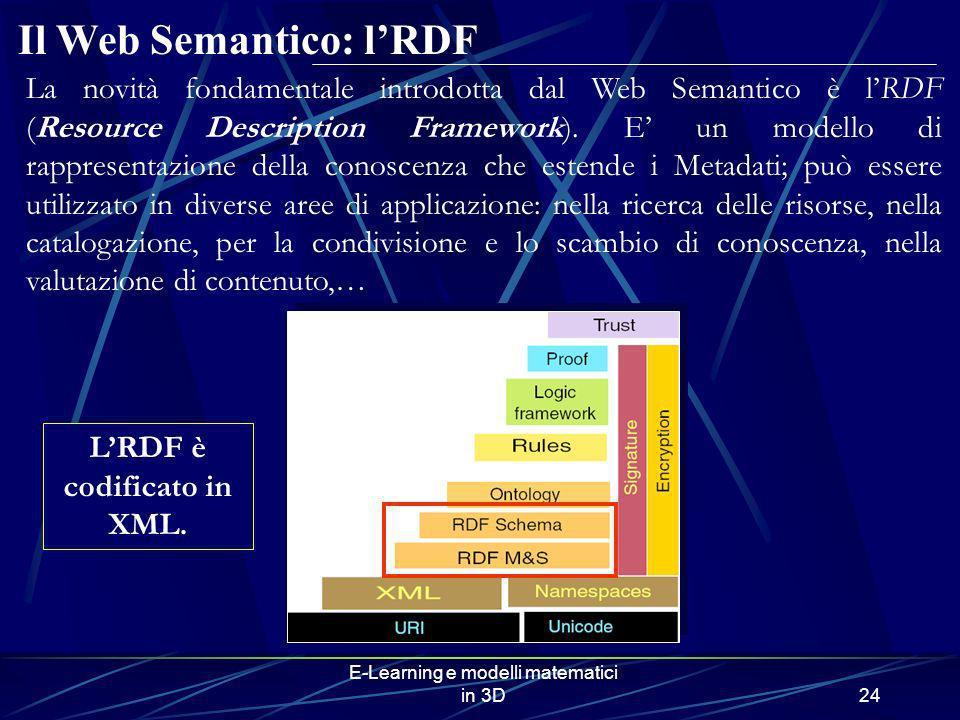 E-Learning e modelli matematici in 3D24 Il Web Semantico: lRDF LRDF è codificato in XML. La novità fondamentale introdotta dal Web Semantico è lRDF (R