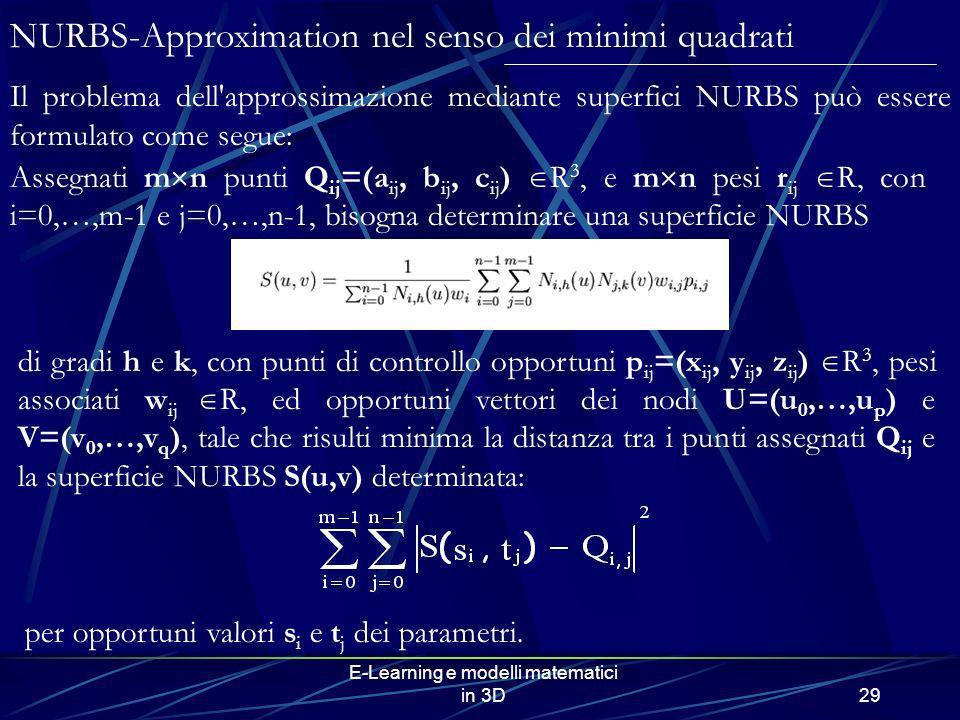 E-Learning e modelli matematici in 3D29 NURBS-Approximation nel senso dei minimi quadrati Il problema dell'approssimazione mediante superfici NURBS pu