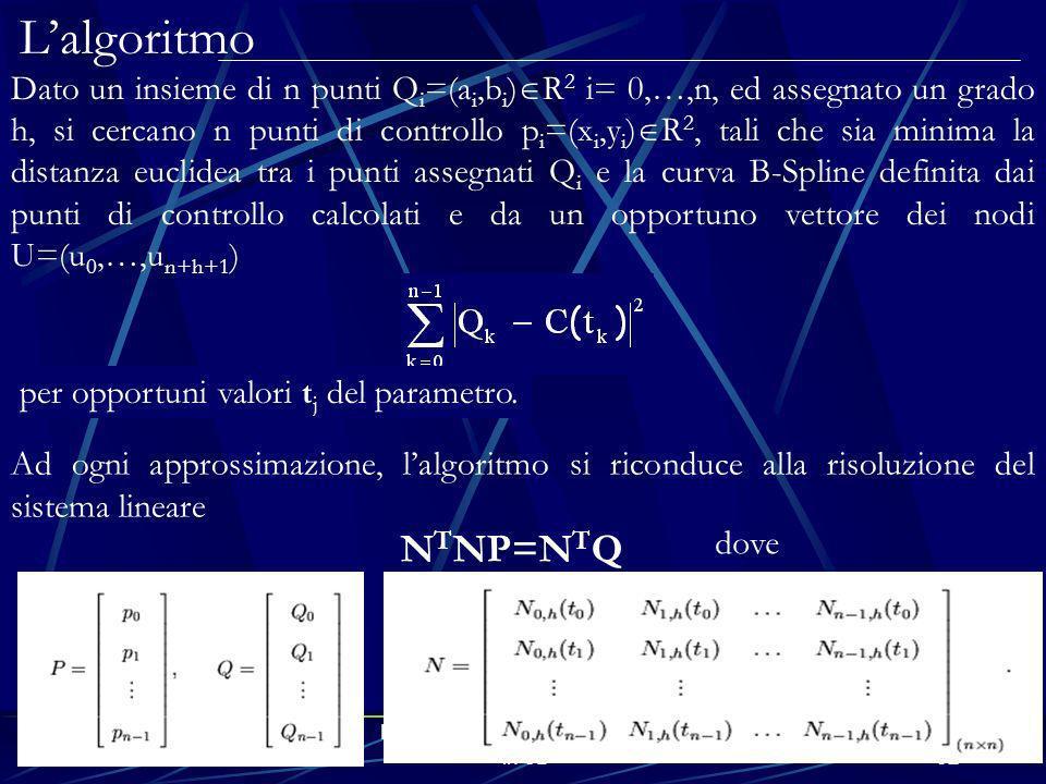 E-Learning e modelli matematici in 3D32 Lalgoritmo Ad ogni approssimazione, lalgoritmo si riconduce alla risoluzione del sistema lineare N T NP=N T Q