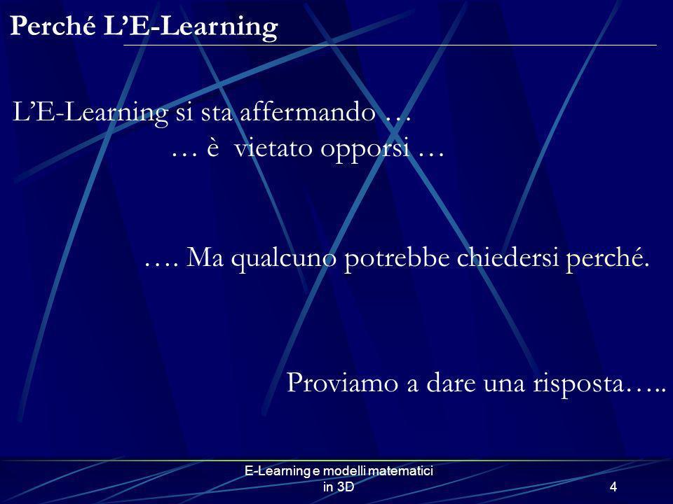 E-Learning e modelli matematici in 3D4 Perché LE-Learning LE-Learning si sta affermando … … è vietato opporsi … …. Ma qualcuno potrebbe chiedersi perc
