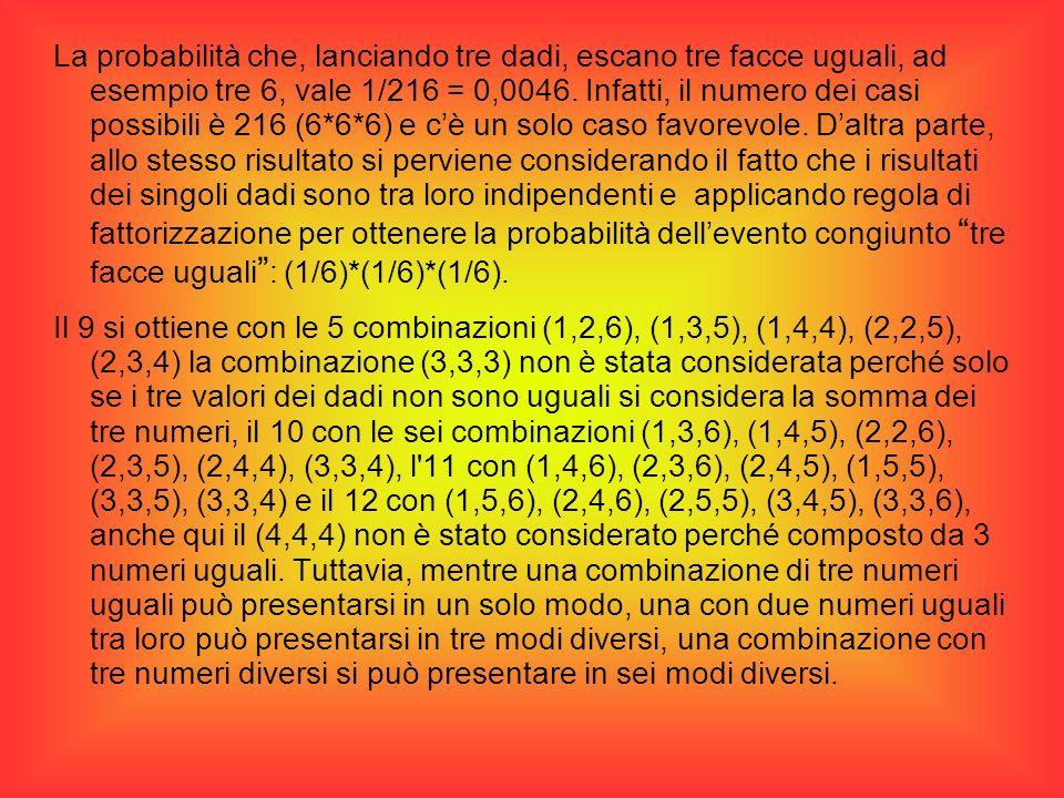 La probabilità che, lanciando tre dadi, escano tre facce uguali, ad esempio tre 6, vale 1/216 = 0,0046. Infatti, il numero dei casi possibili è 216 (6