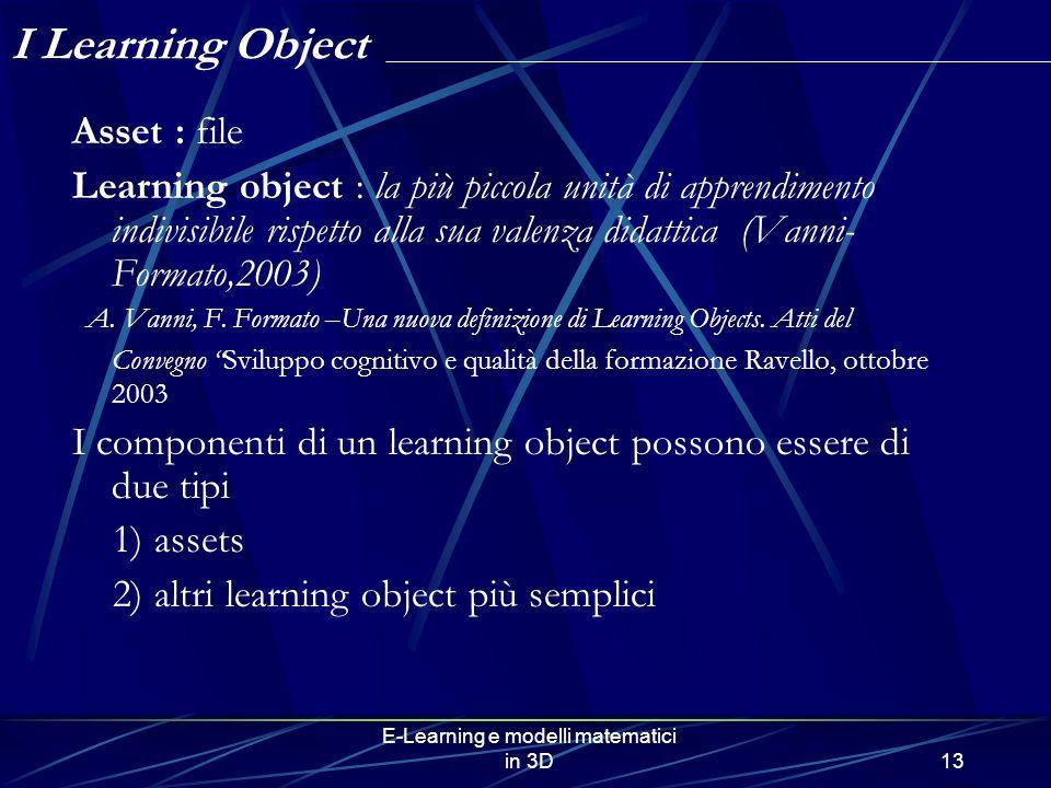 E-Learning e modelli matematici in 3D13 Asset : file Learning object : la più piccola unità di apprendimento indivisibile rispetto alla sua valenza di