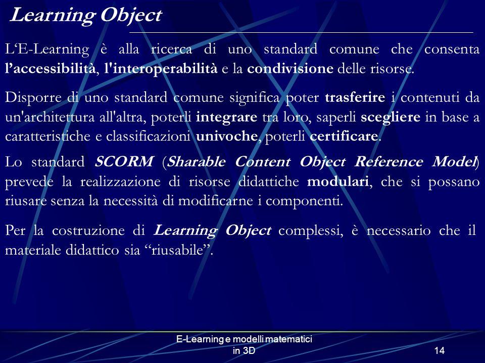 E-Learning e modelli matematici in 3D14 Per la costruzione di Learning Object complessi, è necessario che il materiale didattico sia riusabile. Learni