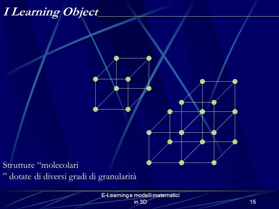 E-Learning e modelli matematici in 3D15 Strutture molecolari dotate di diversi gradi di granularità I Learning Object