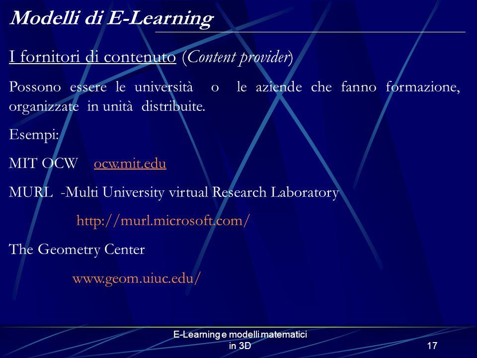E-Learning e modelli matematici in 3D17 I fornitori di contenuto (Content provider) Possono essere le università o le aziende che fanno formazione, or