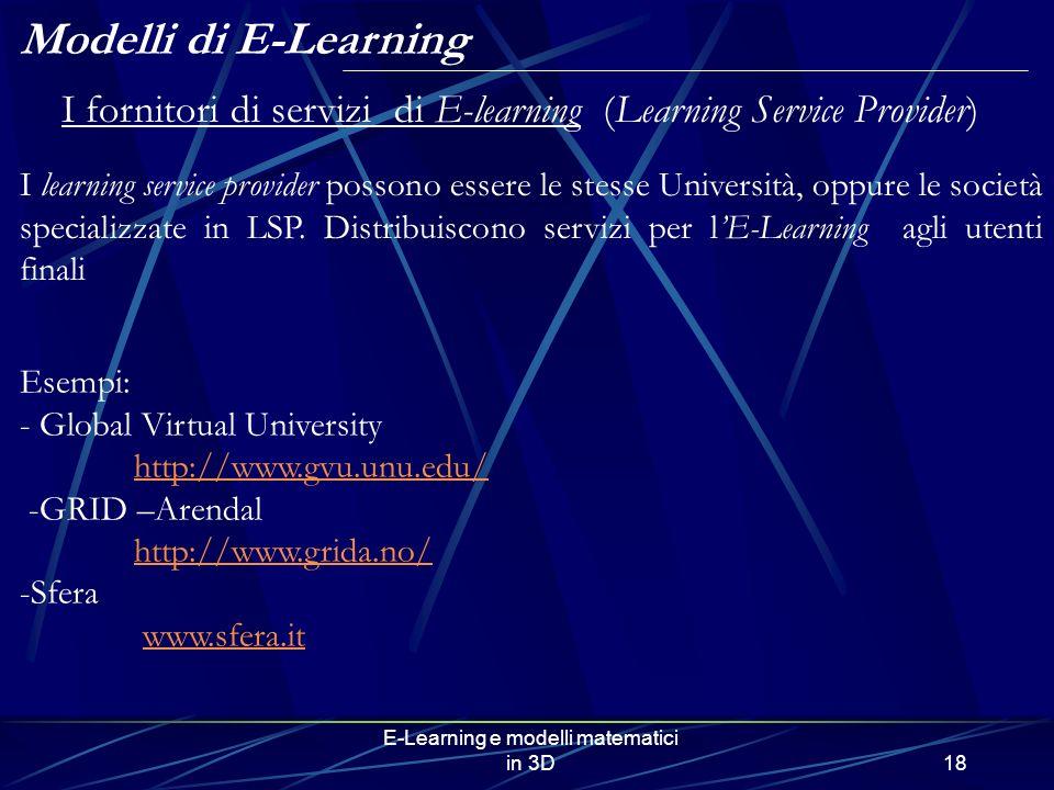 E-Learning e modelli matematici in 3D18 I fornitori di servizi di E-learning (Learning Service Provider) I learning service provider possono essere le