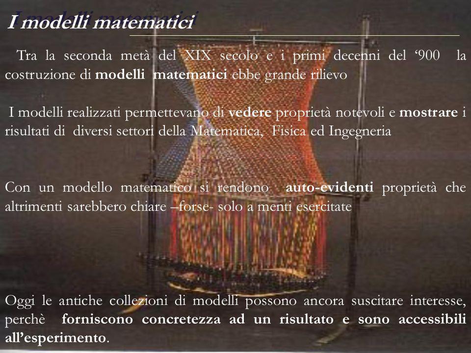 Tra la seconda metà del XIX secolo e i primi decenni del 900 la costruzione di modelli matematici ebbe grande rilievo I modelli realizzati permettevan