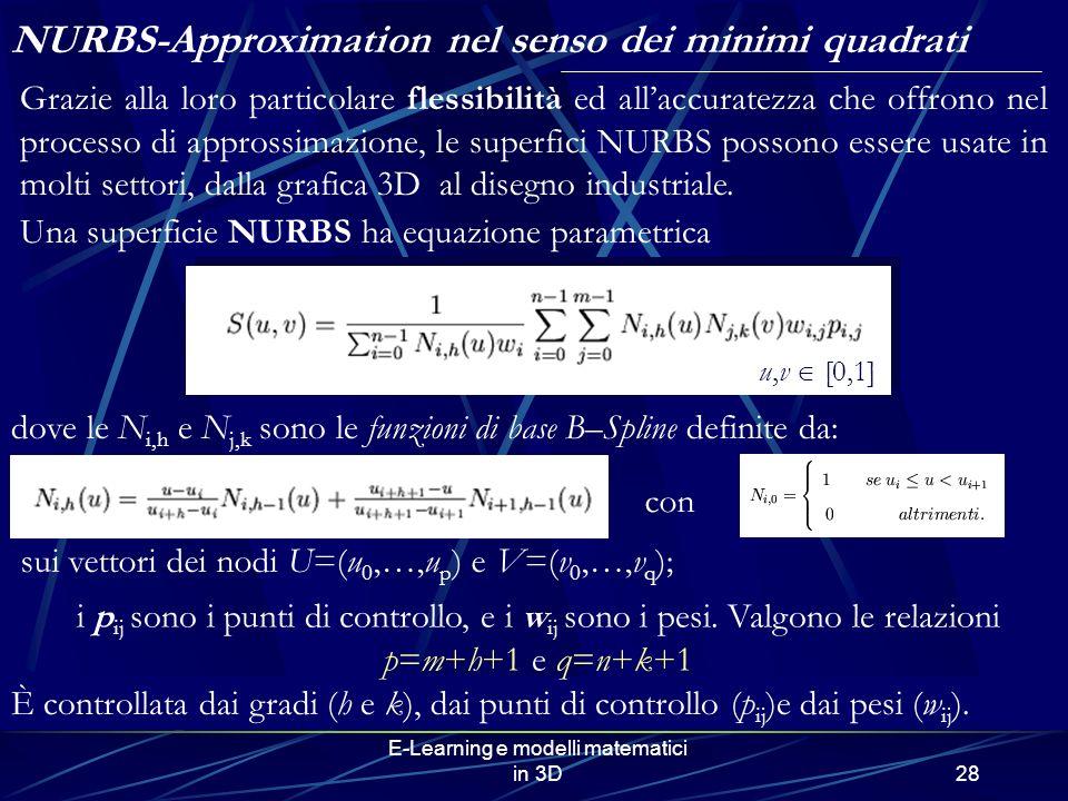 E-Learning e modelli matematici in 3D28 NURBS-Approximation nel senso dei minimi quadrati Grazie alla loro particolare flessibilità ed allaccuratezza