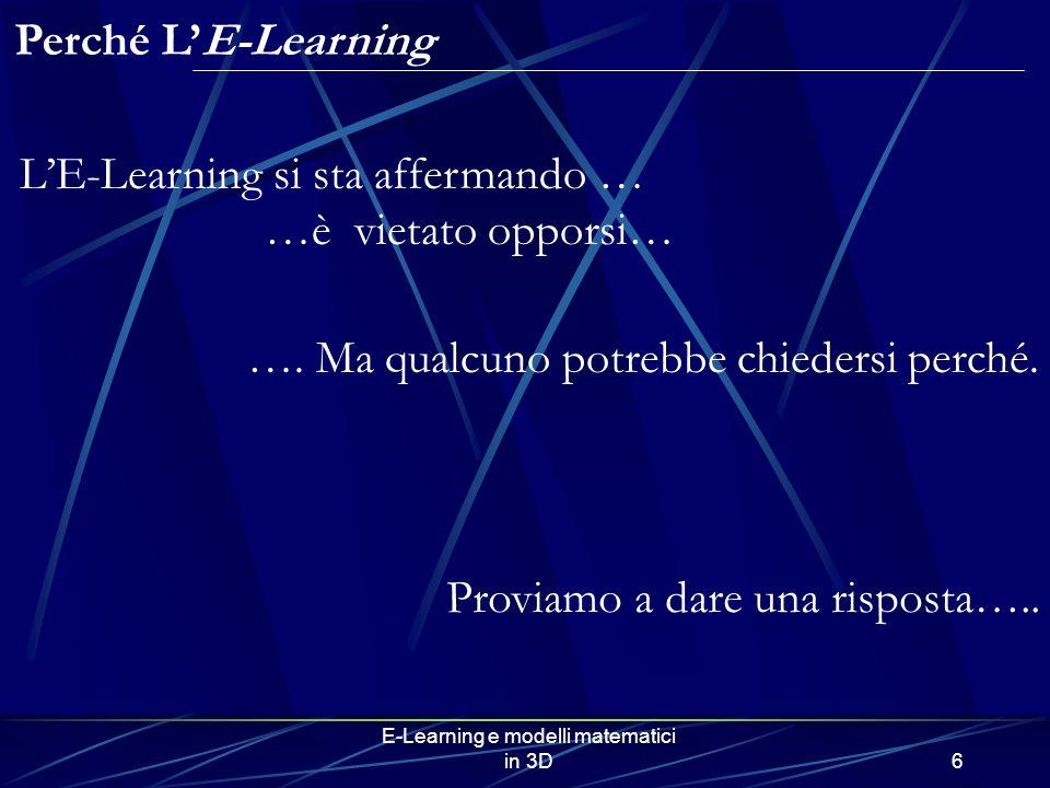 E-Learning e modelli matematici in 3D6 Perché LE-Learning LE-Learning si sta affermando … …è vietato opporsi… …. Ma qualcuno potrebbe chiedersi perché