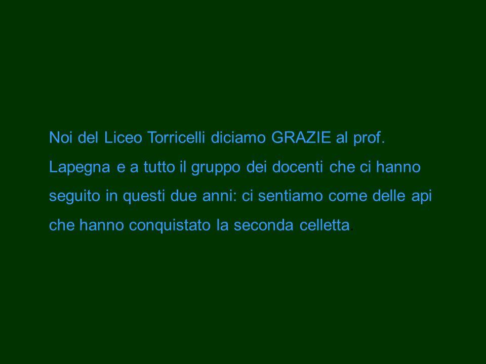 Noi del Liceo Torricelli diciamo GRAZIE al prof. Lapegna e a tutto il gruppo dei docenti che ci hanno seguito in questi due anni: ci sentiamo come del
