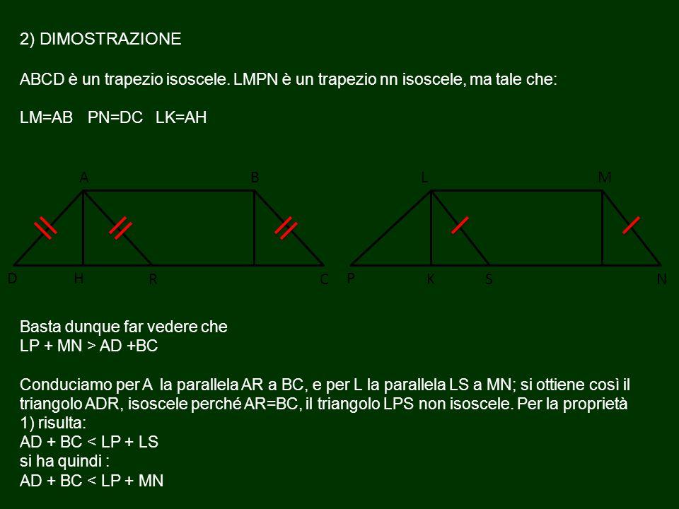 2) DIMOSTRAZIONE ABCD è un trapezio isoscele. LMPN è un trapezio nn isoscele, ma tale che: LM=AB PN=DC LK=AH Basta dunque far vedere che LP + MN > AD