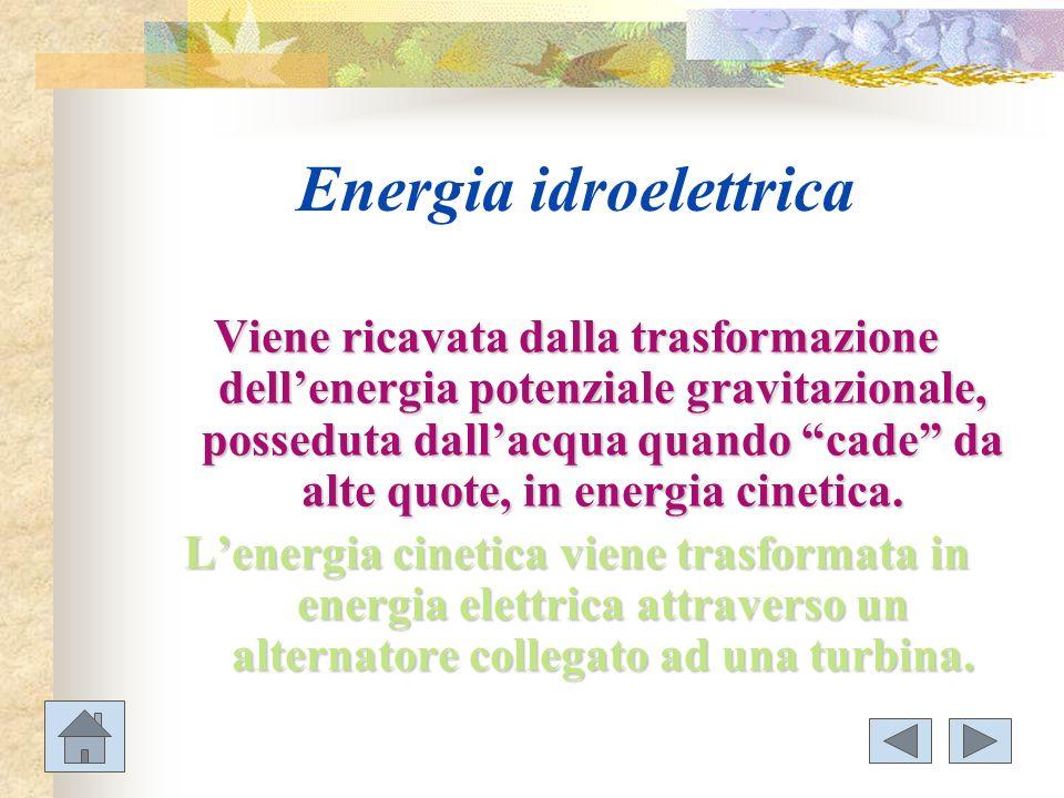 Energia idroelettrica Viene ricavata dalla trasformazione dellenergia potenziale gravitazionale, posseduta dallacqua quando cade da alte quote, in ene