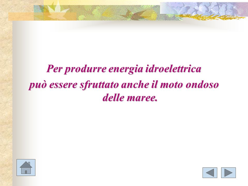 Per produrre energia idroelettrica può essere sfruttato anche il moto ondoso delle maree.