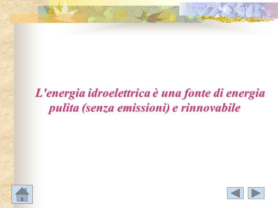 L'energia idroelettrica è una fonte di energia pulita (senza emissioni) e rinnovabile