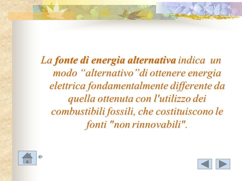 La fonte di energia alternativa indica un modo alternativodi ottenere energia elettrica fondamentalmente differente da quella ottenuta con l'utilizzo
