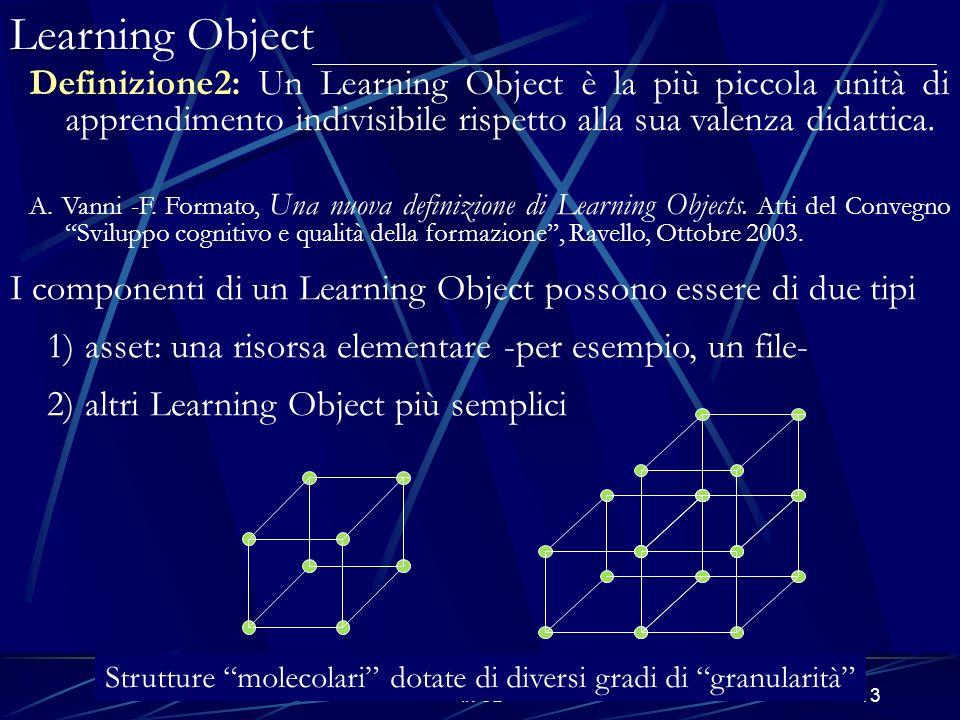 E-Learning e modelli matematici in 3D13 Definizione2: Un Learning Object è la più piccola unità di apprendimento indivisibile rispetto alla sua valenza didattica.