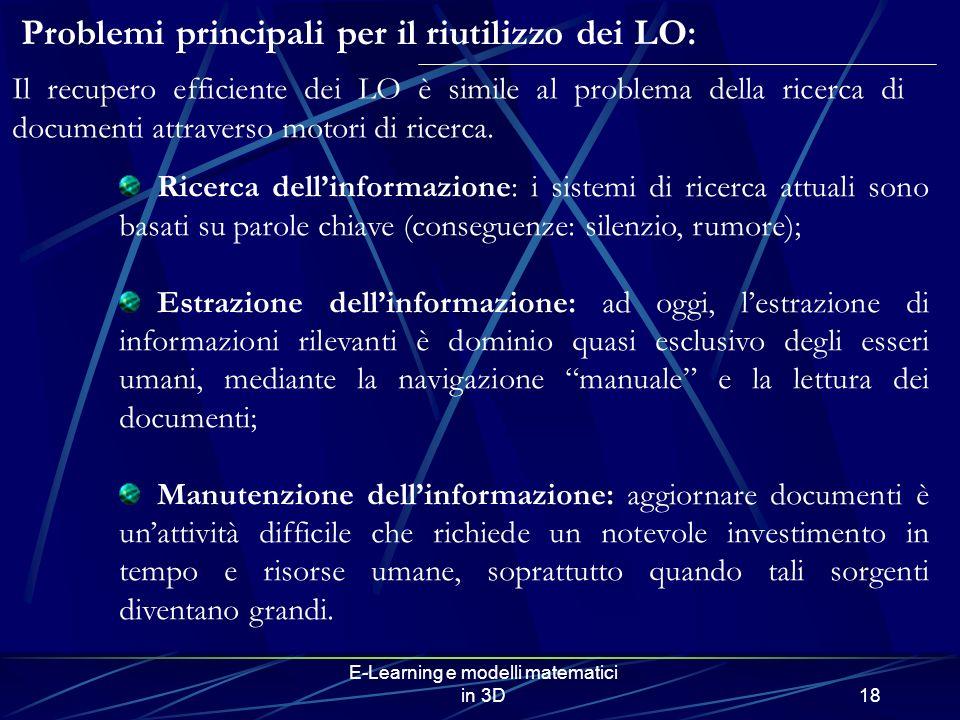 E-Learning e modelli matematici in 3D18 Problemi principali per il riutilizzo dei LO: Ricerca dellinformazione: i sistemi di ricerca attuali sono basa