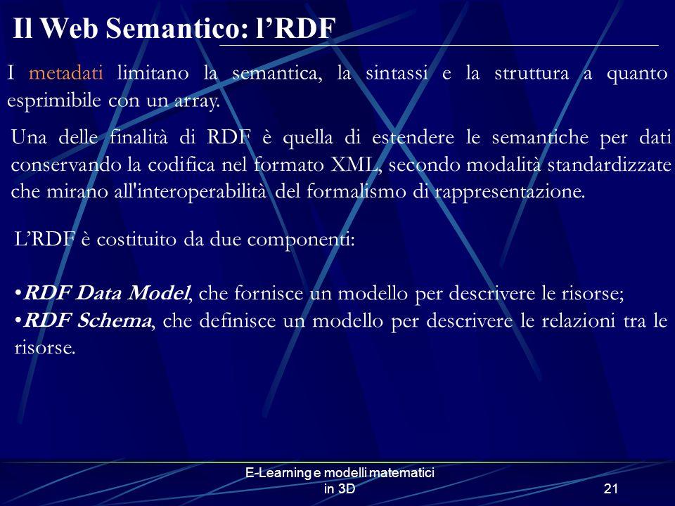 E-Learning e modelli matematici in 3D21 Una delle finalità di RDF è quella di estendere le semantiche per dati conservando la codifica nel formato XML, secondo modalità standardizzate che mirano all interoperabilità del formalismo di rappresentazione.