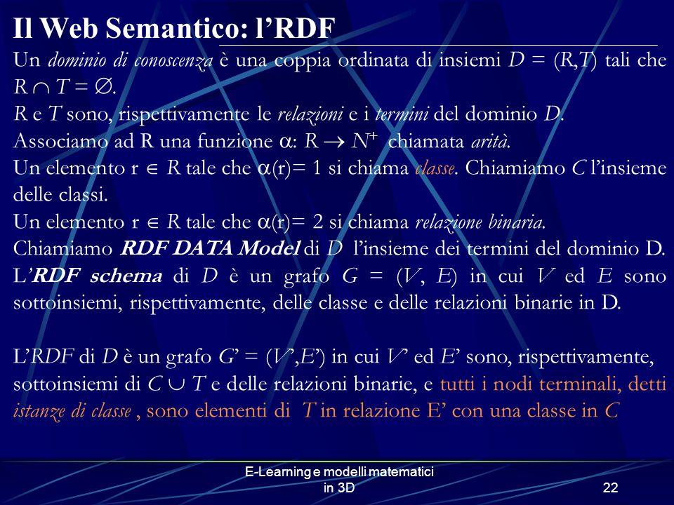 E-Learning e modelli matematici in 3D22 Un dominio di conoscenza è una coppia ordinata di insiemi D = (R,T) tali che R T =. R e T sono, rispettivament