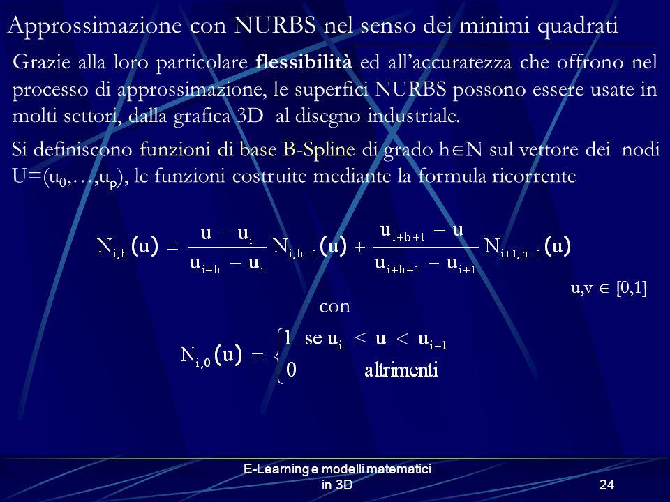 E-Learning e modelli matematici in 3D24 Approssimazione con NURBS nel senso dei minimi quadrati Grazie alla loro particolare flessibilità ed allaccuratezza che offrono nel processo di approssimazione, le superfici NURBS possono essere usate in molti settori, dalla grafica 3D al disegno industriale.