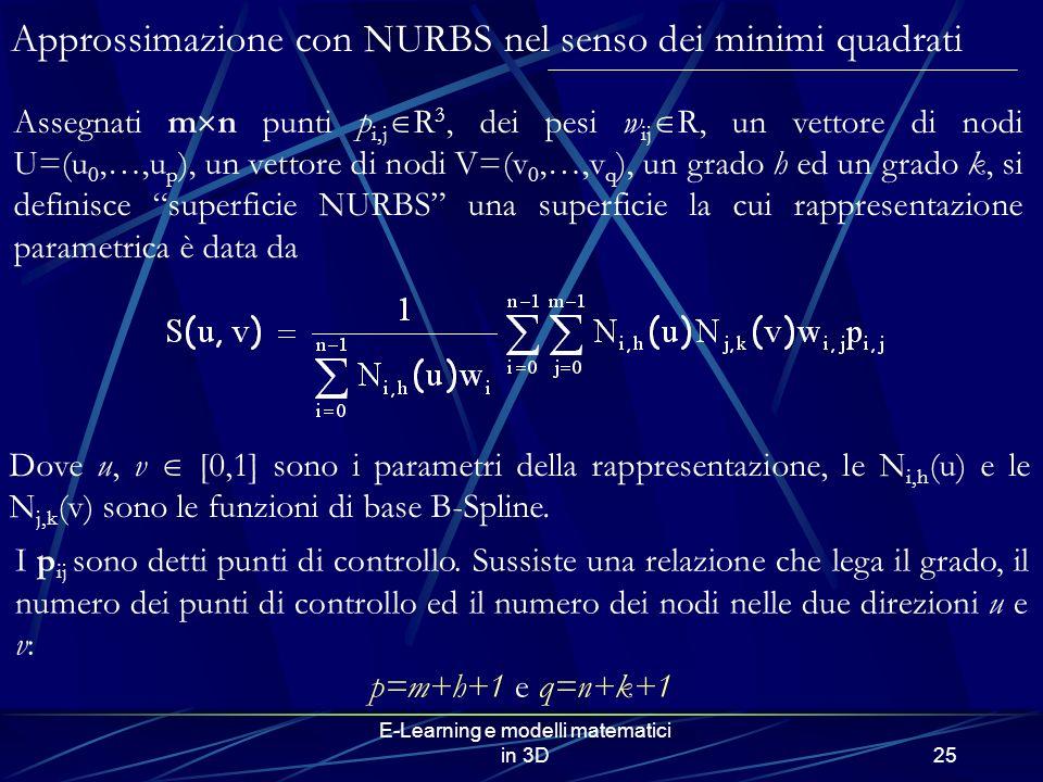 E-Learning e modelli matematici in 3D25 Dove u, v [0,1] sono i parametri della rappresentazione, le N i,h (u) e le N j,k (v) sono le funzioni di base B-Spline.