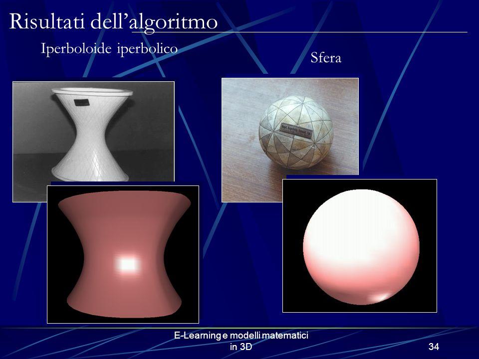 E-Learning e modelli matematici in 3D34 Risultati dellalgoritmo Iperboloide iperbolico Sfera