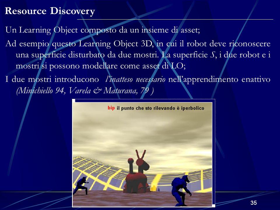 E-Learning e modelli matematici in 3D35 Resource Discovery Un Learning Object composto da un insieme di asset; Ad esempio questo Learning Object 3D, in cui il robot deve riconoscere una superficie disturbato da due mostri.