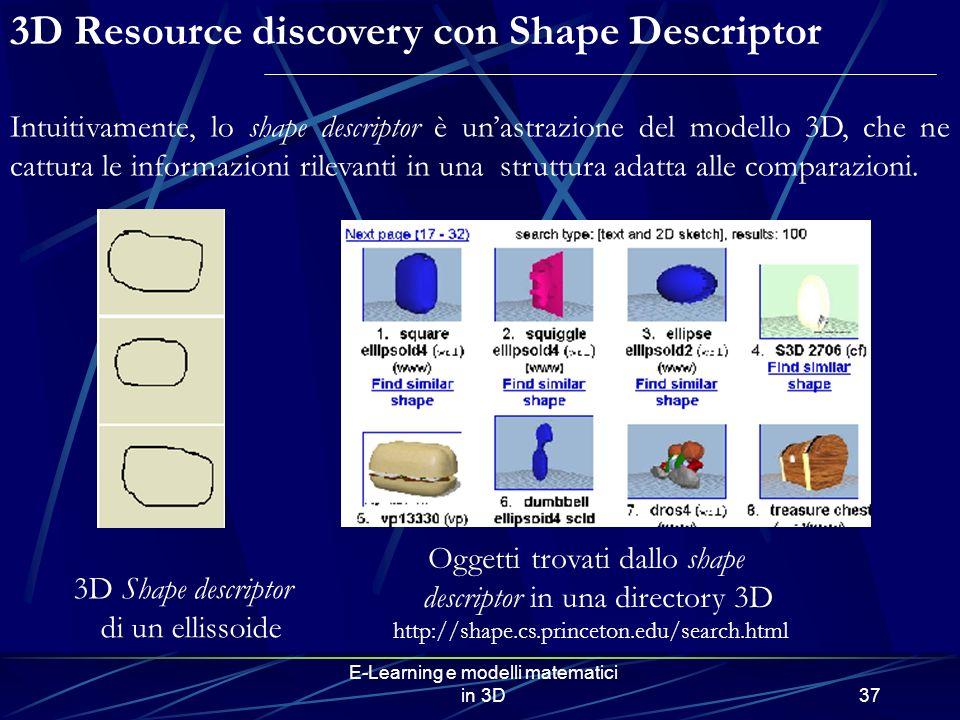 E-Learning e modelli matematici in 3D37 3D Resource discovery con Shape Descriptor Intuitivamente, lo shape descriptor è unastrazione del modello 3D, che ne cattura le informazioni rilevanti in una struttura adatta alle comparazioni.