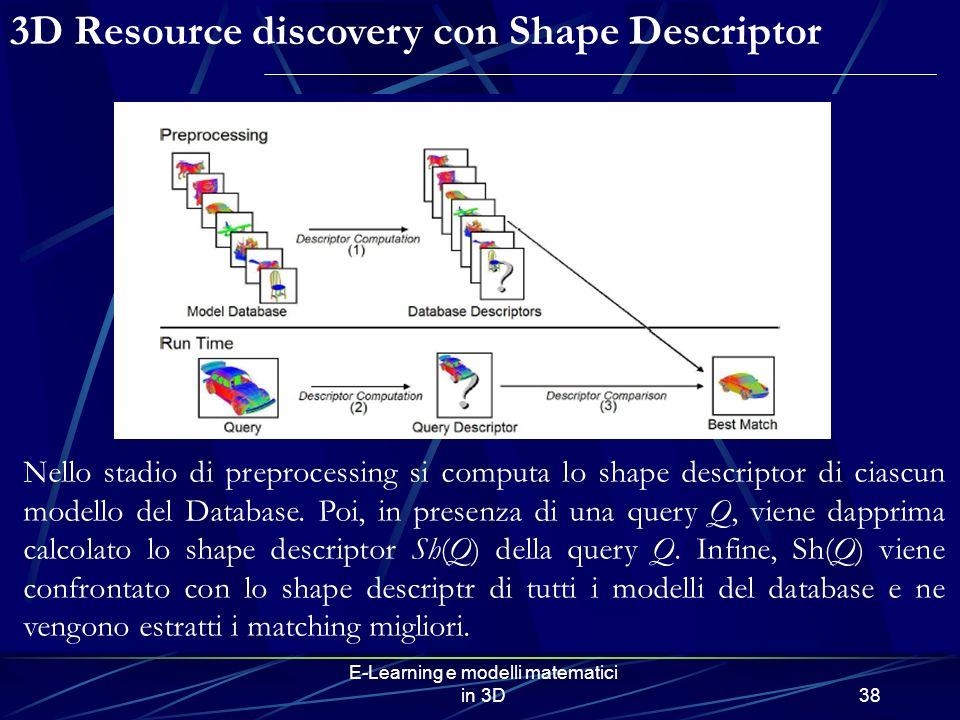 E-Learning e modelli matematici in 3D38 3D Resource discovery con Shape Descriptor Nello stadio di preprocessing si computa lo shape descriptor di ciascun modello del Database.