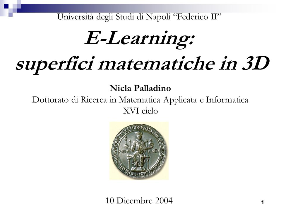 E-learning: superfici matematiche in 3D22 Content Provider Learning Service Provider Learning Community LE-Learning in the large Modelli di E-Learning