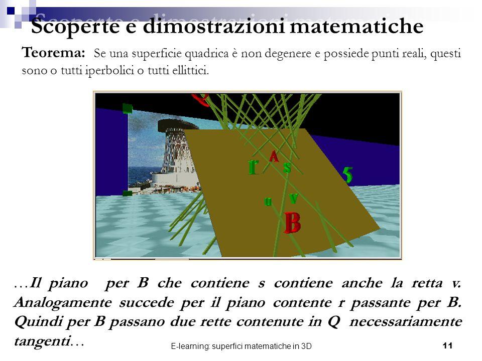 E-learning: superfici matematiche in 3D11 Scoperte e dimostrazioni matematiche Teorema: Se una superficie quadrica è non degenere e possiede punti rea