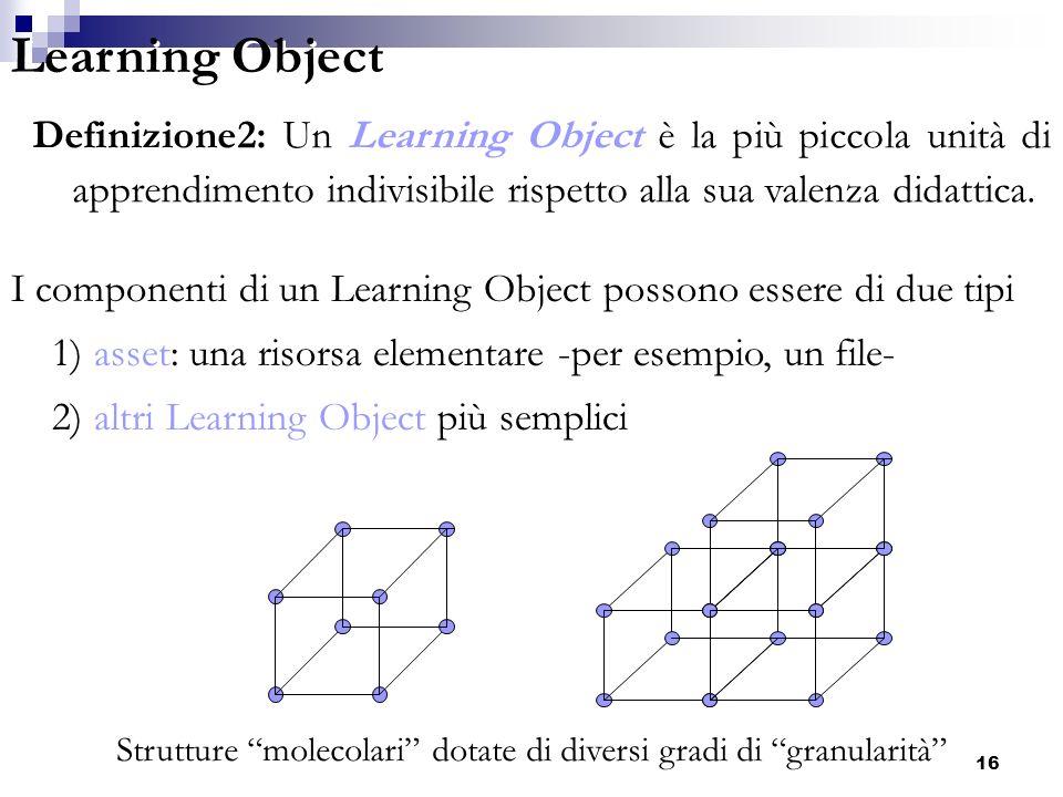 E-learning: superfici matematiche in 3D16 Definizione2: Un Learning Object è la più piccola unità di apprendimento indivisibile rispetto alla sua vale