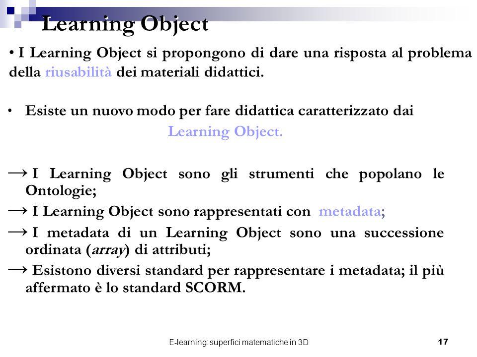 E-learning: superfici matematiche in 3D17 Learning Object Esiste un nuovo modo per fare didattica caratterizzato dai Learning Object. I Learning Objec