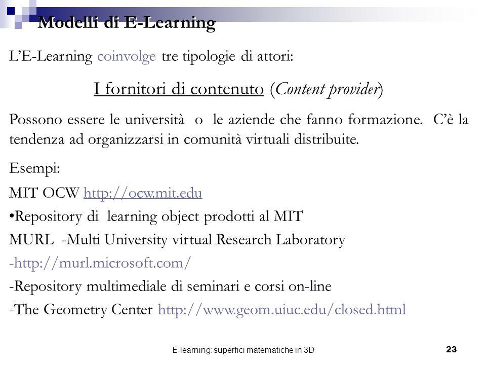 E-learning: superfici matematiche in 3D23 LE-Learning coinvolge tre tipologie di attori: I fornitori di contenuto (Content provider) Possono essere le