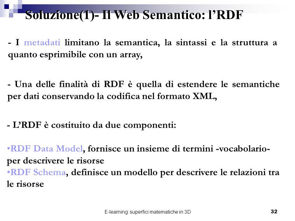E-learning: superfici matematiche in 3D32 - Una delle finalità di RDF è quella di estendere le semantiche per dati conservando la codifica nel formato