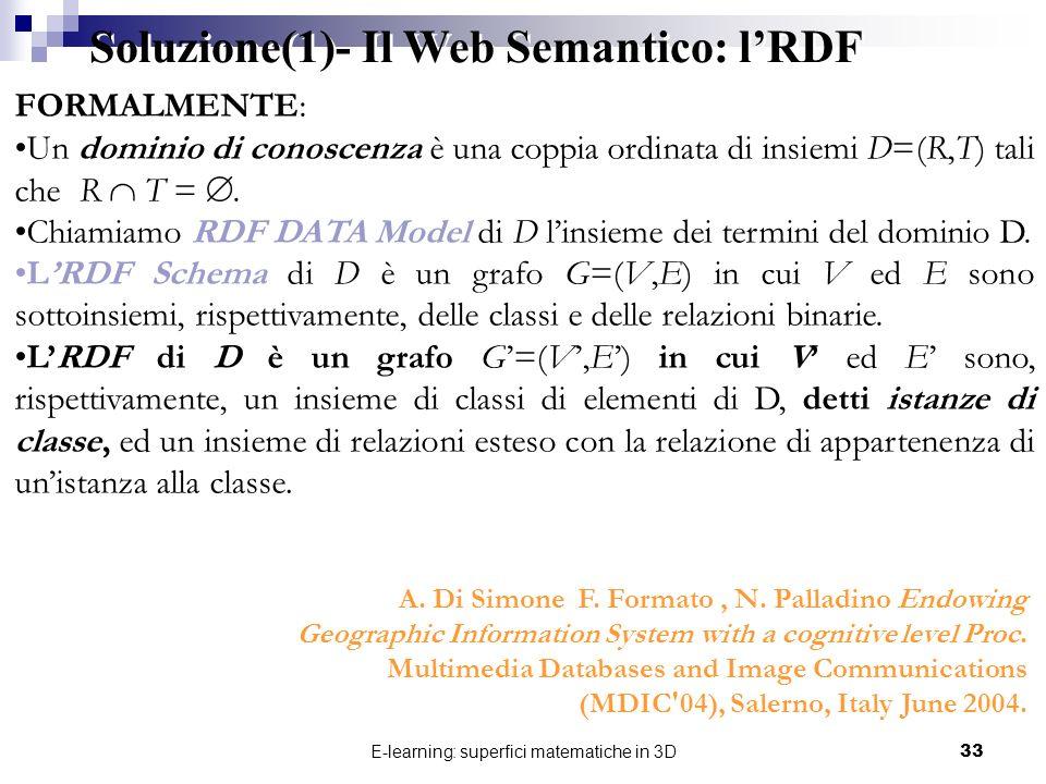 E-learning: superfici matematiche in 3D33 FORMALMENTE: Un dominio di conoscenza è una coppia ordinata di insiemi D=(R,T) tali che R T =. Chiamiamo RDF