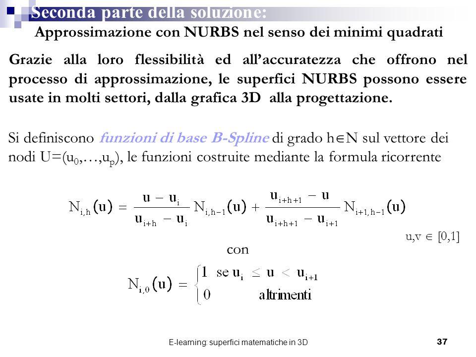 E-learning: superfici matematiche in 3D37 Seconda parte della soluzione: Approssimazione con NURBS nel senso dei minimi quadrati Grazie alla loro fles