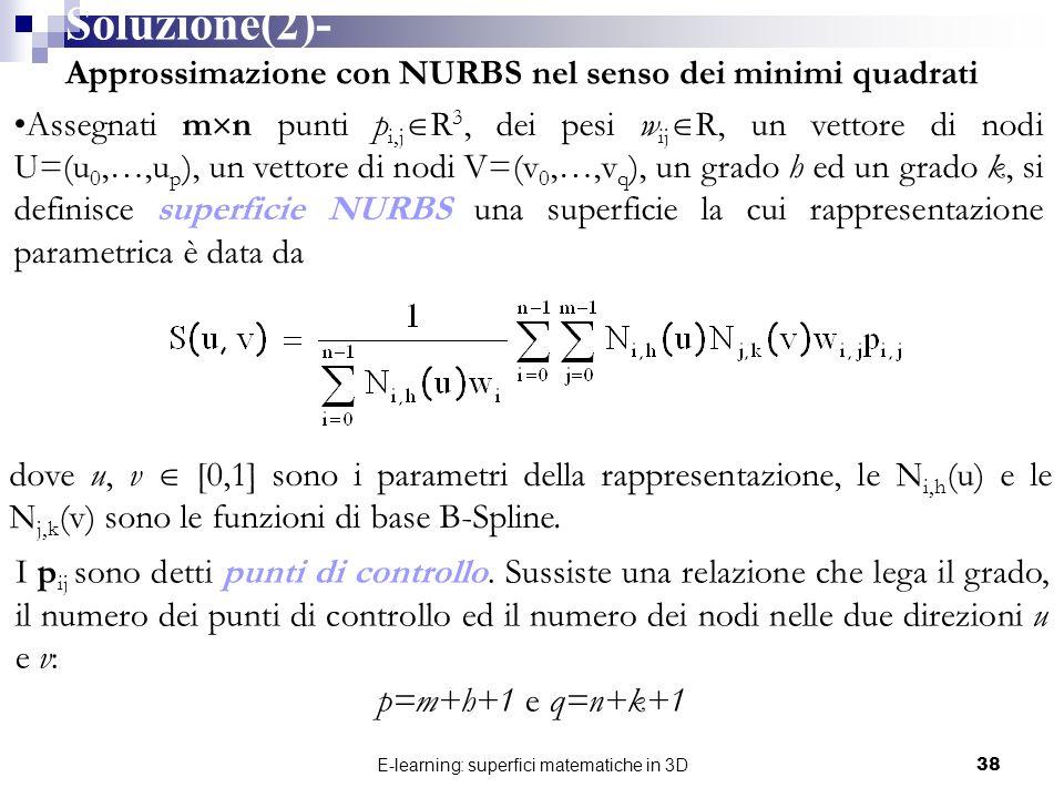 E-learning: superfici matematiche in 3D38 dove u, v [0,1] sono i parametri della rappresentazione, le N i,h (u) e le N j,k (v) sono le funzioni di bas