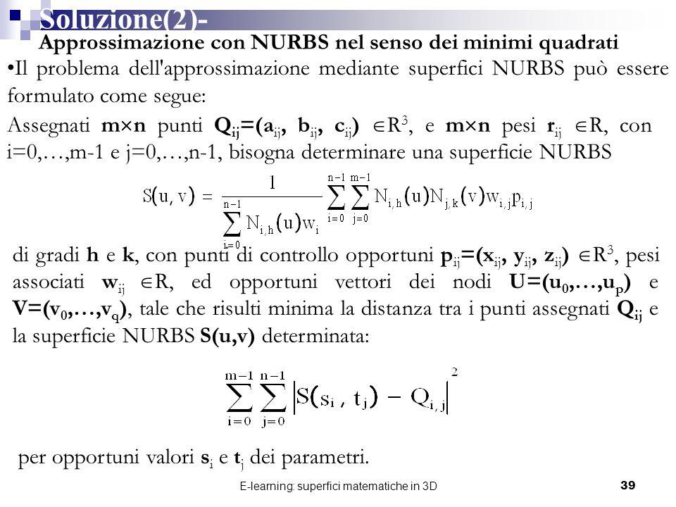 E-learning: superfici matematiche in 3D39 Soluzione(2)- Approssimazione con NURBS nel senso dei minimi quadrati Il problema dell'approssimazione media