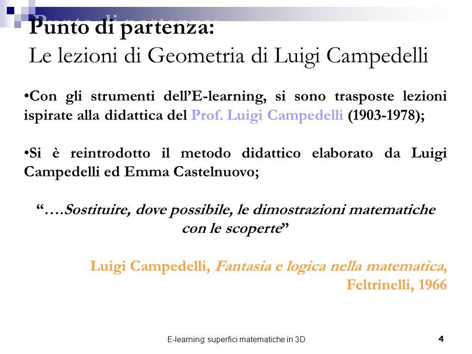 E-learning: superfici matematiche in 3D4 Con gli strumenti dellE-learning, si sono trasposte lezioni ispirate alla didattica del Prof. Luigi Campedell