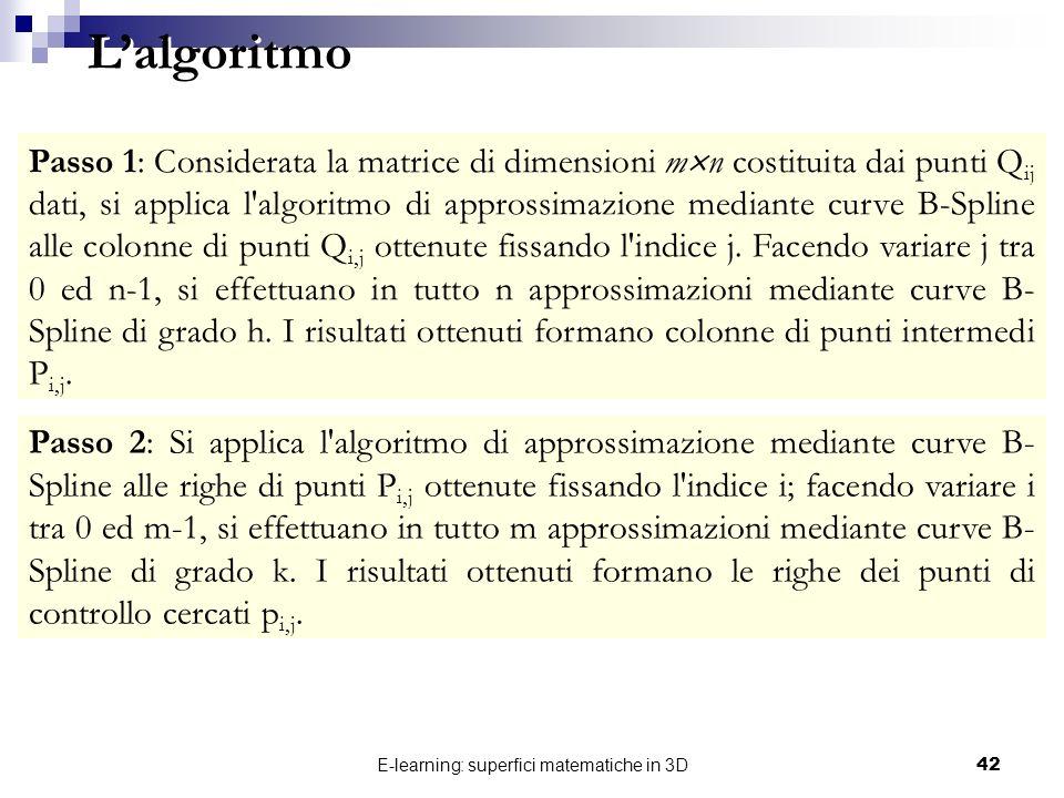 E-learning: superfici matematiche in 3D42 Passo 1: Considerata la matrice di dimensioni m n costituita dai punti Q ij dati, si applica l'algoritmo di