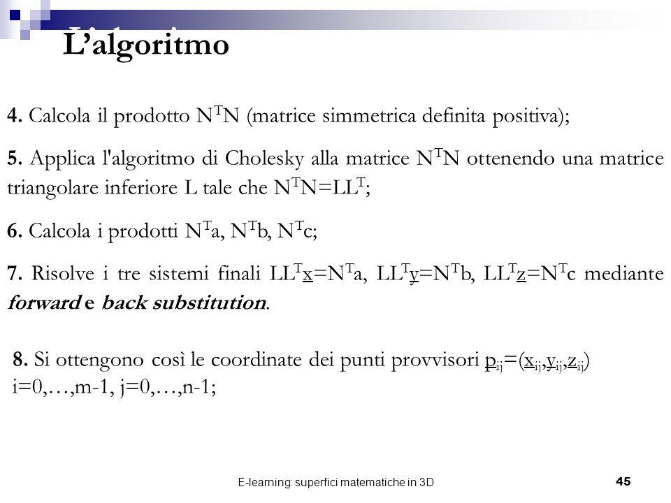 E-learning: superfici matematiche in 3D45 4. Calcola il prodotto N T N (matrice simmetrica definita positiva); 5. Applica l'algoritmo di Cholesky alla