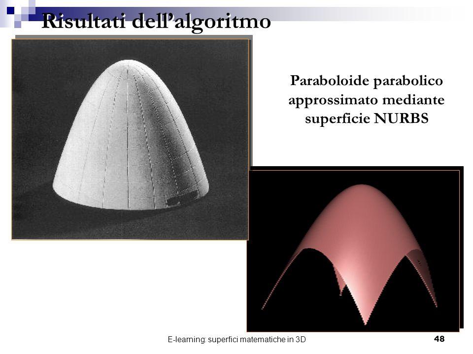 E-learning: superfici matematiche in 3D48 Risultati dellalgoritmo Paraboloide parabolico approssimato mediante superficie NURBS