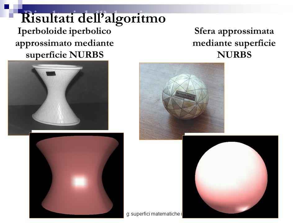 E-learning: superfici matematiche in 3D49 Risultati dellalgoritmo Iperboloide iperbolico approssimato mediante superficie NURBS Sfera approssimata med