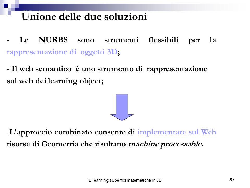 E-learning: superfici matematiche in 3D51 - Le NURBS sono strumenti flessibili per la rappresentazione di oggetti 3D; - Il web semantico è uno strumen