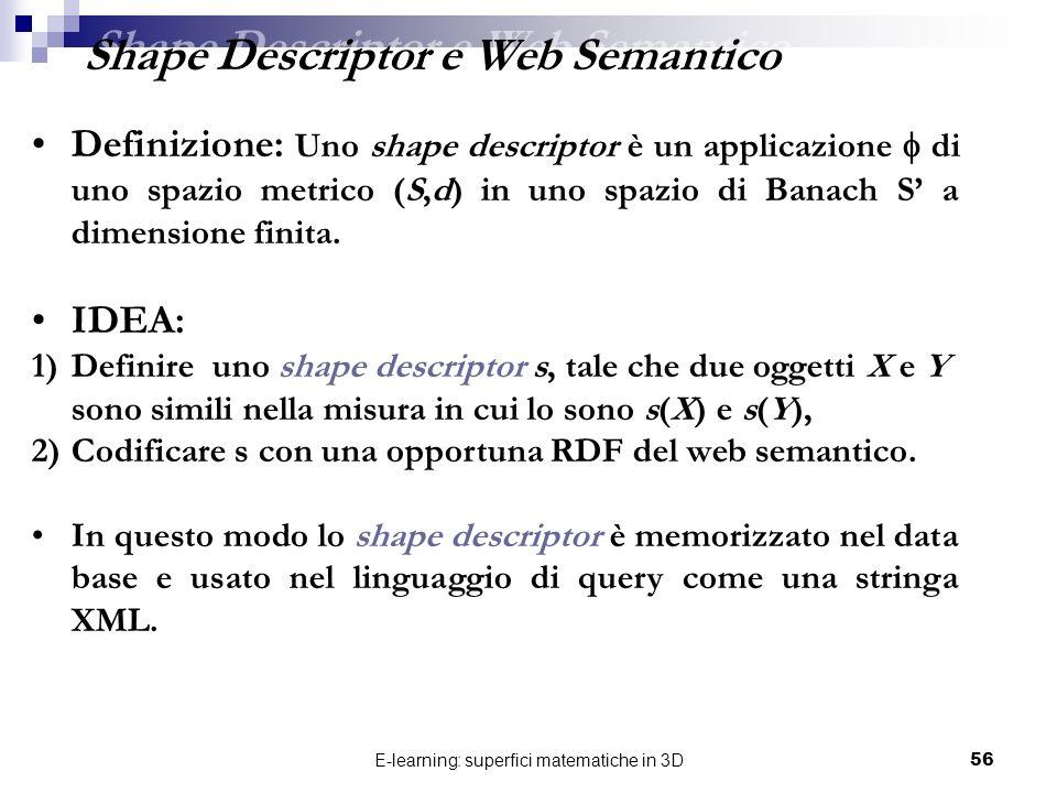 E-learning: superfici matematiche in 3D56 Definizione: Uno shape descriptor è un applicazione di uno spazio metrico (S,d) in uno spazio di Banach S a
