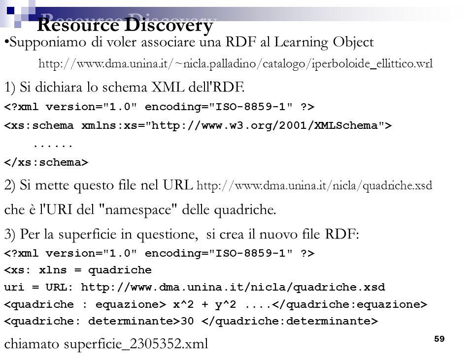 59 Supponiamo di voler associare una RDF al Learning Object http://www.dma.unina.it/~nicla.palladino/catalogo/iperboloide_ellittico.wrl 1) Si dichiara